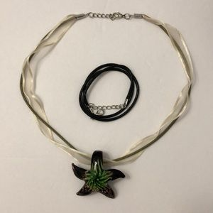 Green hand blown glass starfish pendant